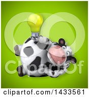 Clipart Of A 3d Chubby Cow Holding A Light Bulb Royalty Free Illustration
