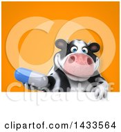 Clipart Of A 3d Chubby Cow Holding A Pill Royalty Free Illustration