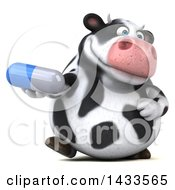 Clipart Of A 3d Chubby Cow Holding A Pill On A White Background Royalty Free Illustration