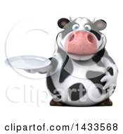 Clipart Of A 3d Chubby Cow Holding A Plate On A White Background Royalty Free Illustration