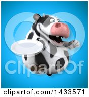 Clipart Of A 3d Chubby Cow Holding A Plate Royalty Free Illustration