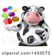 Clipart Of A 3d Chubby Cow With Speech Bubbles On A White Background Royalty Free Illustration