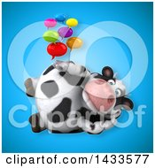 Clipart Of A 3d Chubby Cow With Speech Bubbles Royalty Free Illustration