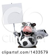 Clipart Of A 3d Chubby Cow Holding An Airplane On A White Background Royalty Free Illustration