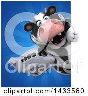 Clipart Of A 3d Chubby Cow Holding An Airplane Royalty Free Illustration