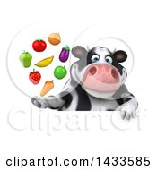 Clipart Of A 3d Chubby Cow With Produce On A White Background Royalty Free Illustration
