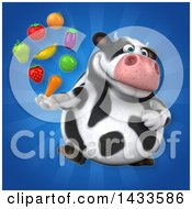 Clipart Of A 3d Chubby Cow With Produce Royalty Free Illustration