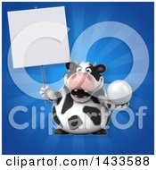 Clipart Of A 3d Chubby Cow Holding A Golf Ball Royalty Free Illustration