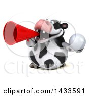 3d Chubby Cow Holding A Golf Ball On A White Background