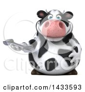 Clipart Of A 3d Chubby Cow Holding A Wrench On A White Background Royalty Free Illustration