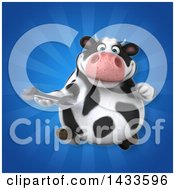 Clipart Of A 3d Chubby Cow Holding A Wrench Royalty Free Illustration