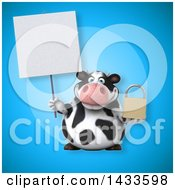 Clipart Of A 3d Chubby Cow Holding A Padlock Royalty Free Illustration