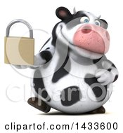 Clipart Of A 3d Chubby Cow Holding A Padlock On A White Background Royalty Free Illustration