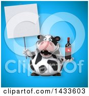 Clipart Of A 3d Chubby Cow Holding A Wine Bottle Royalty Free Illustration