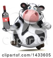 Clipart Of A 3d Chubby Cow Holding A Wine Bottle On A White Background Royalty Free Illustration