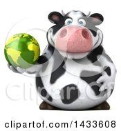 3d Chubby Cow Holding An Earth Globe On A White Background