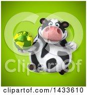 3d Chubby Cow Holding An Earth Globe