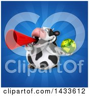 Clipart Of A 3d Chubby Cow Holding An Earth Globe Royalty Free Illustration