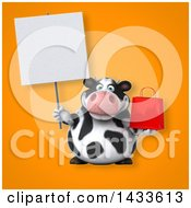 3d Chubby Cow Holding A Shopping Bag