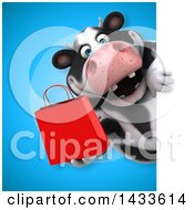 Clipart Of A 3d Chubby Cow Holding A Shopping Bag Royalty Free Illustration