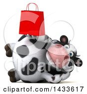 Clipart Of A 3d Chubby Cow Holding A Shopping Bag On A White Background Royalty Free Illustration