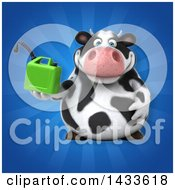 Clipart Of A 3d Chubby Cow Holding A Gas Can Royalty Free Illustration