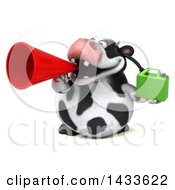 Clipart Of A 3d Chubby Cow Holding A Gas Can On A White Background Royalty Free Illustration