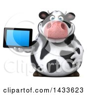 Clipart Of A 3d Chubby Cow Holding A Tablet Computer On A White Background Royalty Free Illustration