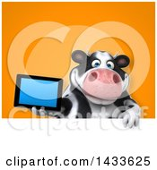 Clipart Of A 3d Chubby Cow Holding A Tablet Computer Royalty Free Illustration