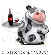 Clipart Of A 3d Chubby Cow Holding A Wine Tray On A White Background Royalty Free Illustration by Julos