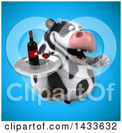 Clipart Of A 3d Chubby Cow Holding A Wine Tray Royalty Free Illustration by Julos