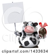Clipart Of A 3d Chubby Cow Holding A Chocolate Egg On A White Background Royalty Free Illustration