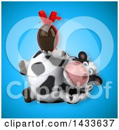 Clipart Of A 3d Chubby Cow Holding A Chocolate Egg Royalty Free Illustration