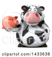 Clipart Of A 3d Chubby Cow Holding A Piggy Bank On A White Background Royalty Free Illustration