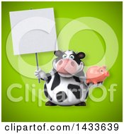Clipart Of A 3d Chubby Cow Holding A Piggy Bank Royalty Free Illustration