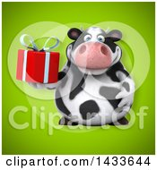 Clipart Of A 3d Chubby Cow Holding A Gift Royalty Free Illustration