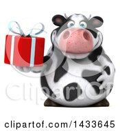 Clipart Of A 3d Chubby Cow Holding A Gift On A White Background Royalty Free Illustration