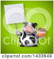 Clipart Of A 3d Chubby Cow Holding A Cupcake Royalty Free Illustration