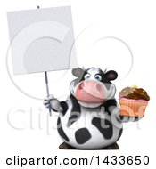 Clipart Of A 3d Chubby Cow Holding A Cupcake On A White Background Royalty Free Illustration