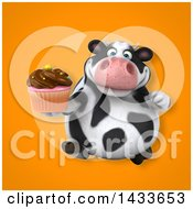 Clipart Of A 3d Chubby Cow Holding A Cupcake Royalty Free Illustration by Julos