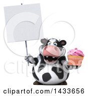 Clipart Of A 3d Chubby Cow Holding A Cupcake On A White Background Royalty Free Illustration by Julos
