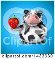 Clipart Of A 3d Chubby Cow Holding A Strawberry Royalty Free Illustration by Julos