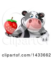 Clipart Of A 3d Chubby Cow Holding A Strawberry On A White Background Royalty Free Illustration by Julos