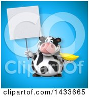 Clipart Of A 3d Chubby Cow Holding A Banana Royalty Free Illustration by Julos