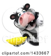 Clipart Of A 3d Chubby Cow Holding A Banana On A White Background Royalty Free Illustration by Julos