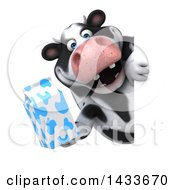 Clipart Of A 3d Chubby Cow Holding A Milk Carton On A White Background Royalty Free Illustration by Julos