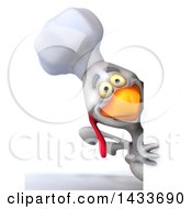 Clipart Of A 3d White Chef Chicken On A White Background Royalty Free Illustration