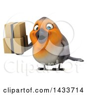 Clipart Of A 3d Robin Bird On A White Background Royalty Free Illustration