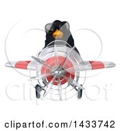 Clipart Of A 3d Black Bird Flying An Airplane On A White Background Royalty Free Illustration by Julos