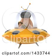 Clipart Of A 3d Caveman Flying A Ufo On A White Background Royalty Free Illustration by Julos
